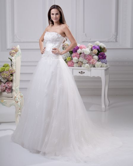 Sash Satin Court Empire Bridal Gown Wedding Dress