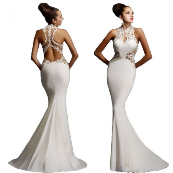 Modern / Fashion White Maxi Dresses 2018 Trumpet / Mermaid Lace Flower High Neck Sleeveless Sweep Train Womens Clothing