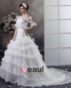 Perlen Garn Sweep-blumen-brautballkleid-hochzeitskleid