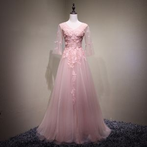 Chic / Beautiful Pearl Pink Evening Dresses  2017 A-Line / Princess Lace Flower Beading Artificial Flowers V-Neck Backless 3/4 Sleeve Floor-Length / Long Formal Dresses