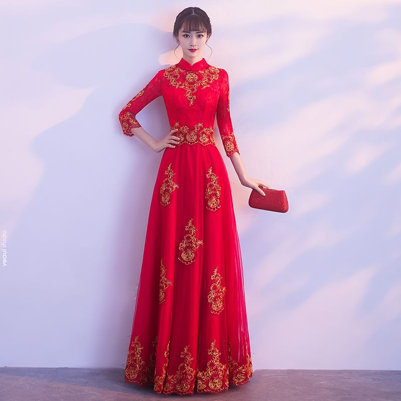 Affordable Chinese style Red Evening Dresses  2019 A-Line / Princess High Neck 3/4 Sleeve Gold Appliques Lace Floor-Length / Long Ruffle Formal Dresses