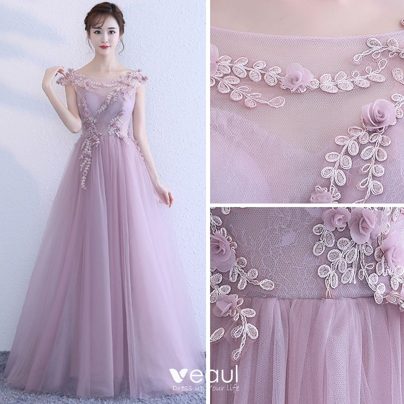 Elegant Lavender Evening Dresses 2017 A-Line / Princess