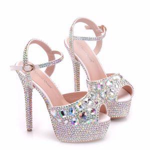 Sparkly Silver Wedding Shoes 2018 Crystal Rhinestone Ankle Strap 14 cm Stiletto Heels Open / Peep Toe Wedding High Heels