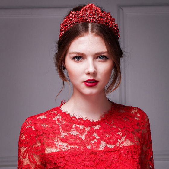 Red hand-beaded lace imperial crown