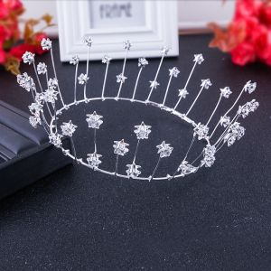 Modest / Simple Silver Accessories 2018 Metal Crystal Star Tiara