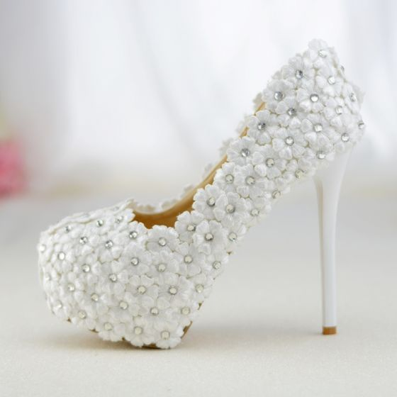 3813e355 Hermoso Blanco Zapatos de novia 2019 Con Encaje Flor Rhinestone 14 cm  Stilettos / Tacones De Aguja Punta Redonda Boda Tacones