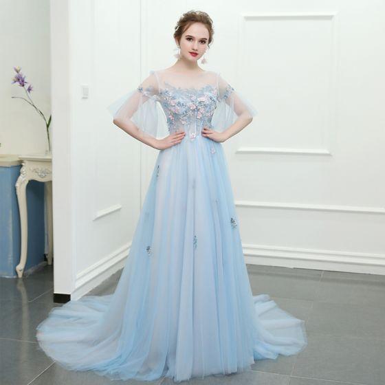 Błyszczące Błękitne Trenem Kaplica Sukienki Wieczorowe 2018 Princessa Tiulowe U-Szyja Aplikacje Bez Pleców Frezowanie Wieczorowe Sukienki Wizytowe