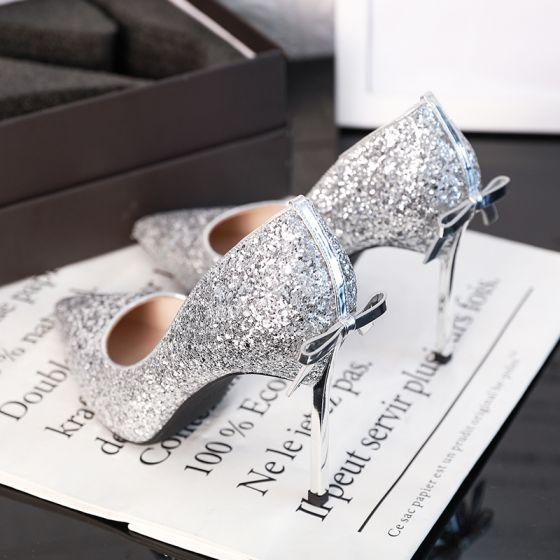 Brillante Plata Zapatos de novia 2019 Glitter Lentejuelas Bowknot 9 cm Stilettos / Tacones De Aguja Punta Estrecha Boda Tacones