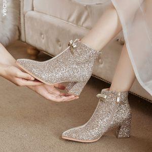 Sparkly Bling Bling Guld Bryllup Støvler 2020 Glitter Pailletter Polyester Støvletter / Ankelstøvler Spidse Tå 6 cm Brudesko
