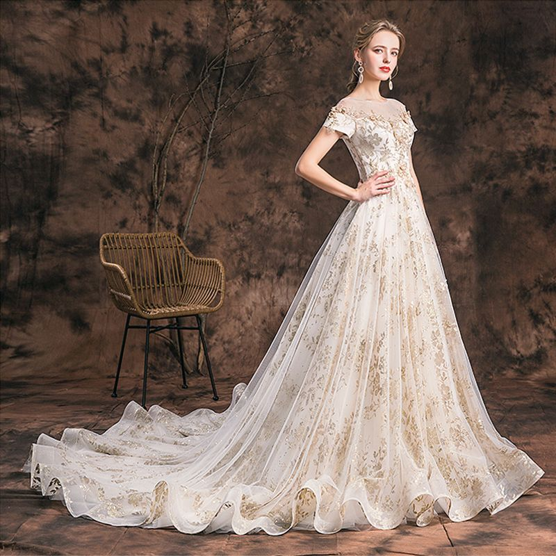 Charming Champagne 2019 Wedding Dresses A-Line / Princess Scoop Neck Lace Flower Glitter Tulle Short Sleeve Backless Cathedral Train