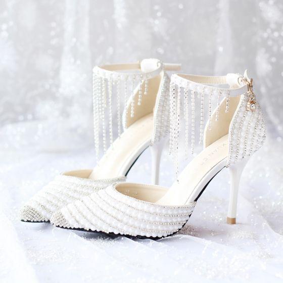 Chic / Belle Blanche 2018 Mariage 9 cm À Bout Pointu Promo Perlage Cristal Faux Diamant Talons Hauts Talons Aiguilles Chaussure De Mariée