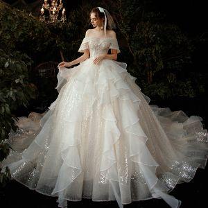 Romantyczny Szampan ślubna Suknie Ślubne 2020 Suknia Balowa Przy Ramieniu Kótkie Rękawy Bez Pleców Aplikacje Z Koronki Frezowanie Cekiny Cekinami Tiulowe Trenem Katedra Wzburzyć