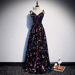 Sparkly Multi-Colors Sequins Evening Dresses  2020 A-Line / Princess Spaghetti Straps Sleeveless Floor-Length / Long Ruffle Backless Formal Dresses
