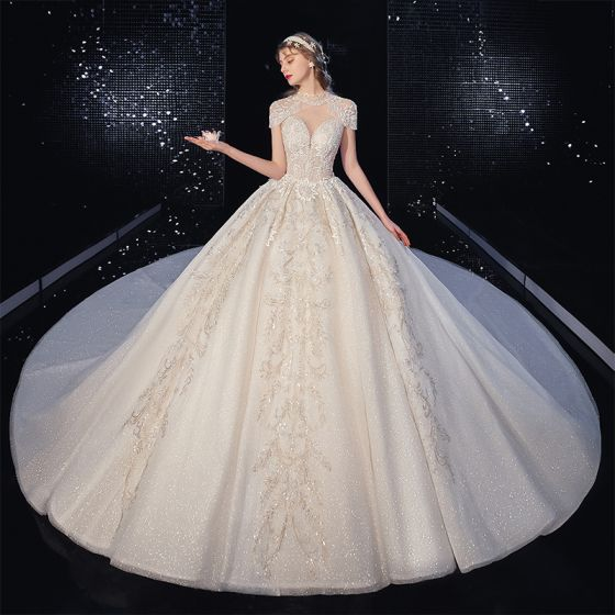 Vintage / Retro Champagne See-through Bridal Wedding Dresses 2020 Ball Gown High Neck Short Sleeve Backless Appliques Lace Beading Tassel Glitter Tulle Royal Train Ruffle