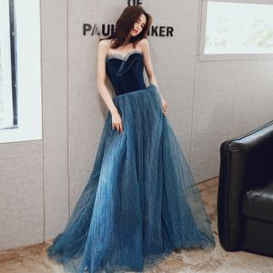 Chic / Beautiful Navy Blue Evening Dresses  2020 A-Line / Princess Sweetheart Sleeveless Glitter Tulle Floor-Length / Long Ruffle Backless Formal Dresses