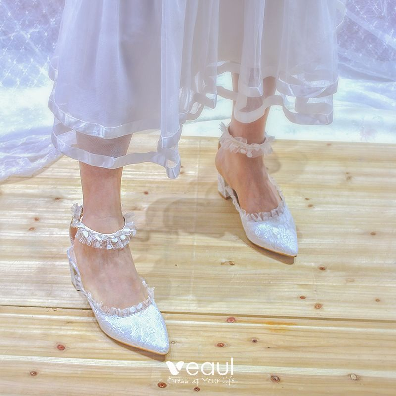 Chic / Beautiful Ivory Wedding Shoes 2020 Tulle Lace 5 Cm
