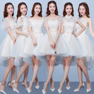 High Low Champagne Bridesmaid Dresses 2018 A-Line / Princess Appliques Flower Bow Sash Asymmetrical Ruffle Backless Wedding Party Dresses