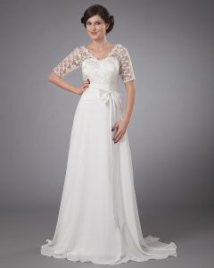 Chiffon Applique V-Neck Ankle Length Wedding Dress