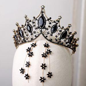 Vintage Barocke Schwarz Kristall Gold Metall Tiara 2019 Legierung Quaste Ohrringe Brautschmuck