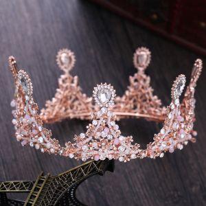 Mooie / Prachtige Candy Roze Bruidssieraden 2017 Metaal Kralen Kristal Rhinestone Huwelijk Gala Accessoires