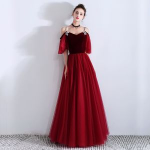 Elegant Burgundy Suede Evening Dresses  2019 A-Line / Princess Rhinestone Spaghetti Straps Short Sleeve Floor-Length / Long Ruffle Backless Formal Dresses