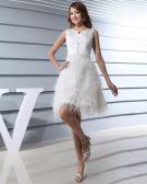 Juwel-ausschnitt-sleeveless Bördelndes Satin Oberschenkel Frau Abiballkleider