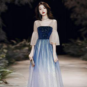 Elegant Royal Blue Gradient-Color See-through Evening Dresses  2020 A-Line / Princess Square Neckline 3/4 Sleeve Bell sleeves Star Sequins Floor-Length / Long Ruffle Backless Formal Dresses