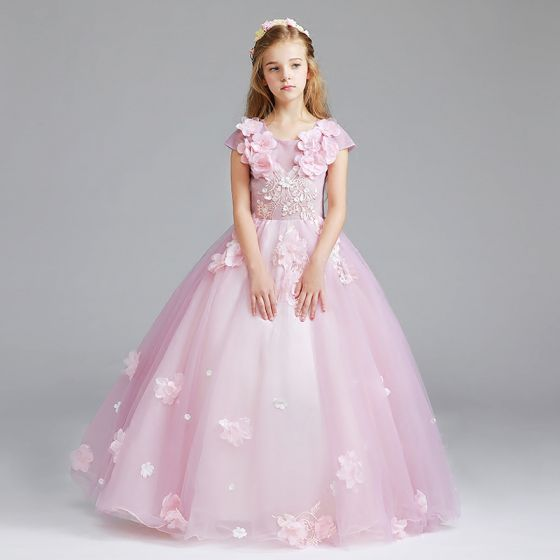 Chic / Beautiful Candy Pink Flower Girl Dresses 2017 Ball Gown Scoop Neck Cap Sleeves Appliques Flower Floor-Length / Long Ruffle Wedding Party Dresses