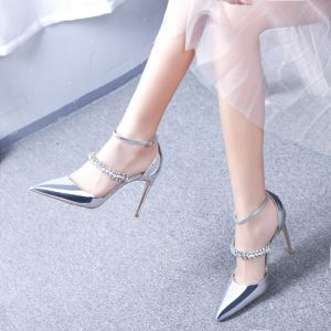 Charming Silver Evening Party Leather Womens Shoes 2020 Patent Leather Rhinestone Ankle Strap 10 cm Stiletto Heels Pointed Toe Heels
