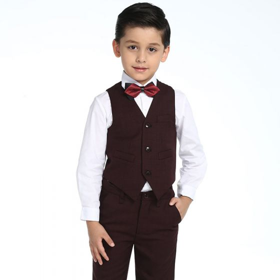 Modest / Simple Wedding Boys Wedding Suits 2017 Burgundy Checked Long Sleeve