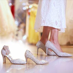 Charmant Argenté Faux Diamant Chaussure De Mariée 2019 Cuir Paillettes 9 cm Talons Aiguilles À Bout Pointu Mariage Escarpins