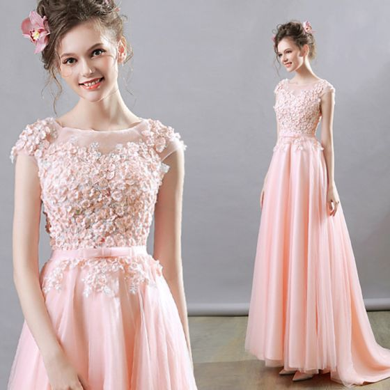 Flower Fairy Pearl Pink Evening Dresses  2018 A-Line / Princess Square Neckline Cap Sleeves Appliques Flower Beading Bow Sash Sweep Train Ruffle Backless Formal Dresses