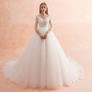 Elegant Ivory Wedding Dresses 2019 A-Line / Princess V-Neck Lace Flower Pearl 3/4 Sleeve Backless Cathedral Train
