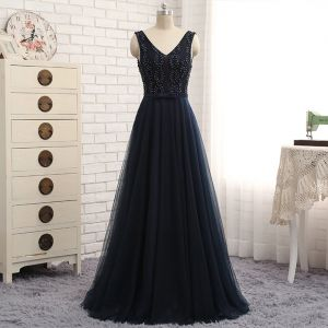 Chic / Beautiful Evening Dresses  2017 A-Line / Princess Beading Bow Crossed Straps Backless V-Neck Sleeveless Floor-Length / Long Evening Party