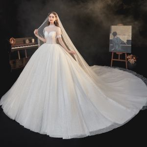 Vintage / Retro Champagne Bridal Wedding Dresses 2020 Ball Gown See-through High Neck Puffy Short Sleeve Backless Beading Glitter Tulle Cathedral Train Ruffle