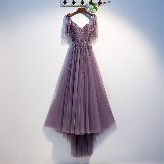 Chic / Beautiful Grape Evening Dresses  2019 A-Line / Princess Spaghetti Straps Beading Crystal Lace Flower Short Sleeve Backless Asymmetrical Formal Dresses