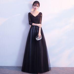 Niedrogie Czarne Sukienki Na Bal 2019 Princessa V-Szyja 3/4 Rękawy Aplikacje Z Koronki Długie Wzburzyć Bez Pleców Sukienki Wizytowe
