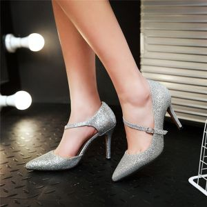 Chic / Beautiful Black 2017 9 cm High Heels Cocktail Party Evening Party Glitter Sequins Stiletto Heels Pointed Toe Womens Shoes