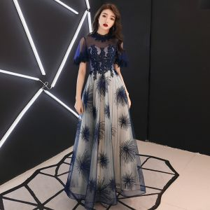 Elegant Navy Blue Evening Dresses  2019 A-Line / Princess Scoop Neck Beading Lace Flower Short Sleeve Backless Floor-Length / Long Formal Dresses