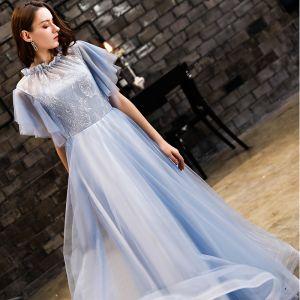 Vintage / Originale Bleu Ciel Robe De Bal 2019 Princesse En Dentelle Encolure Dégagée Dos Nu Manches Courtes Longue Robe De Ceremonie