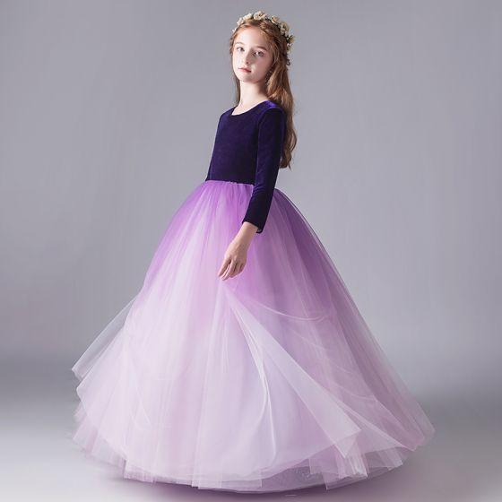 Sencillos Morado Degradado De Color Suede Invierno Cumpleaños Vestidos para niñas 2020 Ball Gown Scoop Escote 3/4 Ærmer Largos Ruffle