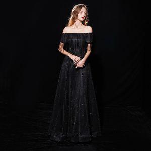 Ciel étoilé Noire Robe De Soirée 2019 Princesse De l'épaule Manches Courtes Gland Glitter Polyester Longue Volants Dos Nu Robe De Ceremonie