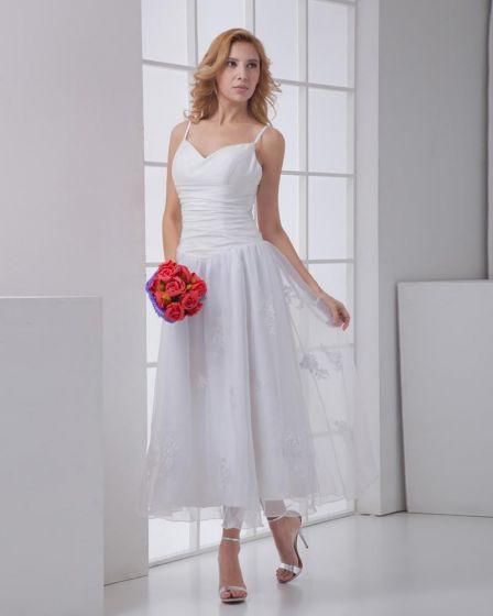 Taffeta Gauze Flower Spaghetti Straps Sleeveless Backless Zipper Ankle Length Pleated Mini Wedding Dress
