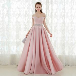 Chic / Beautiful Blushing Pink Prom Dresses 2018 A-Line / Princess Off-The-Shoulder Backless Short Sleeve Floor-Length / Long Formal Dresses