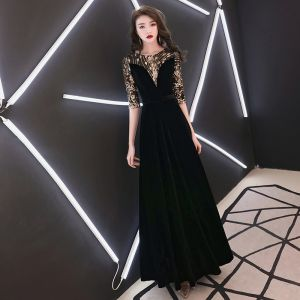 Elegant Black Evening Dresses  2019 A-Line / Princess Scoop Neck Sequins Suede 1/2 Sleeves Floor-Length / Long Formal Dresses