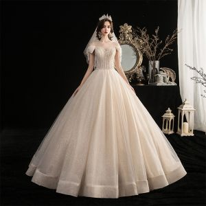 Chic / Beautiful Champagne Outdoor / Garden Wedding Dresses 2020 A-Line / Princess Scoop Neck Bow Short Sleeve Backless Beading Tassel Glitter Tulle Floor-Length / Long Ruffle