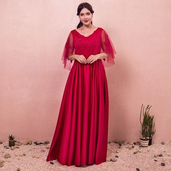 Chic / Beautiful Red Plus Size Evening Dresses 2018 A-Line ...