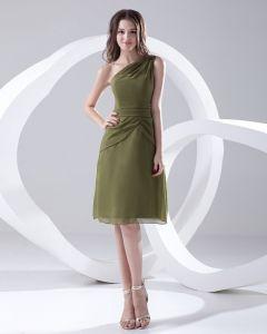 Mousseline De Soie Robe De Mode Plissee En Pente Sans Manches Longueur Genou Demoiselle D'honneur