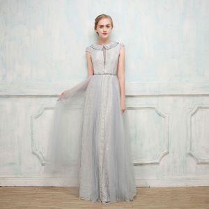 Schöne Abendkleider 2017 A Linie Mit Spitze Pailletten Rundhalsausschnitt Ärmel Lange Festliche Kleider