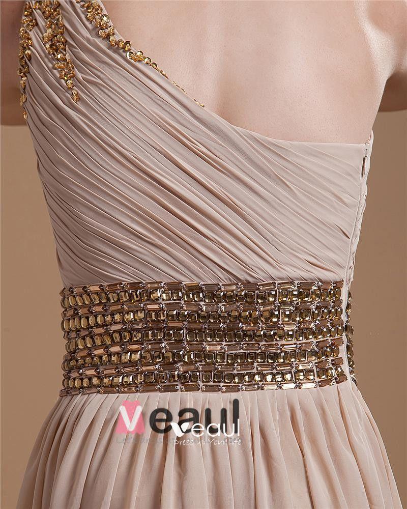 Chiffon Ruffle Beading Sloping Floor Length Prom Dresses